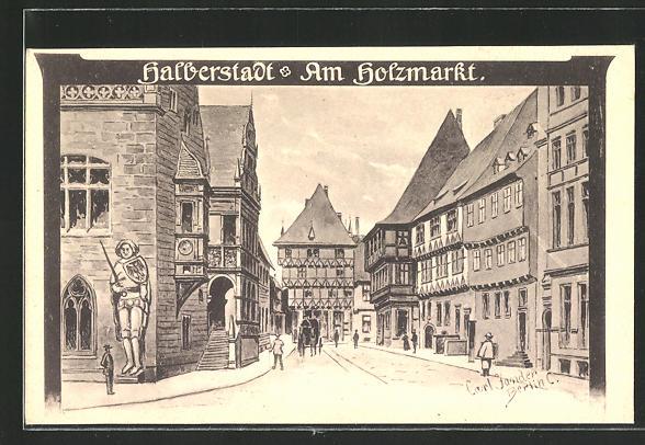 Künstler-AK Carl Jander: Halberstadt, Partie am Holzmarkt mit altdeutschen Häusern