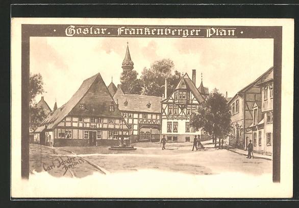 Künstler-AK Carl Jander: Goslar, Partie am Frankenberger Plan mit altdeutschen Häusern