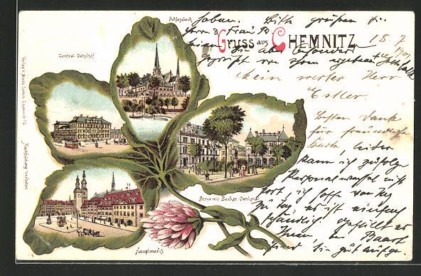 Passepartout-Lithographie Chemnitz, Kleeblatt mit Hauptmarkt, Börse mit Becker-Denkmal, Zentralbahnhof, Schlossteich