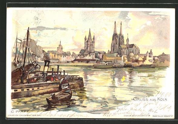 Künstler-AK C. Pfaff: Köln, Rheinpartie mit Kahn und Blick zum Dom