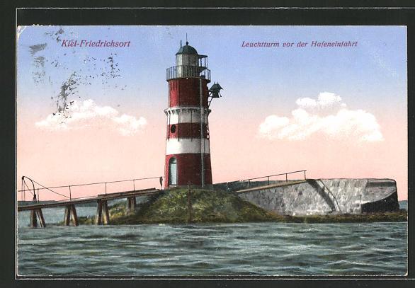 AK Kiel-Friedrichsort, Leuchtturm vor der Hafeneinfahrt
