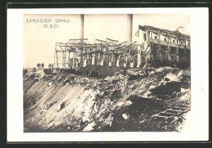 AK Oppau, zerstörte Häuser in einer Strasse, Explosion 21.9.1921