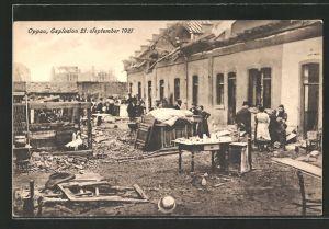 AK Oppau, zerstörte Häuser, Explosion 21.9.1921