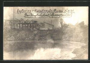 AK Oppau, der Unglücksherd / Sprengtrichter, Explosion 21.9.1921