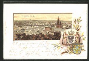 Präge-Passepartout-Lithographie Wiesbaden, Ortsansicht aus der Vogelschau & Wappen