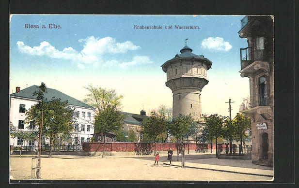 AK Riesa, Knabenschule und Wasserturm