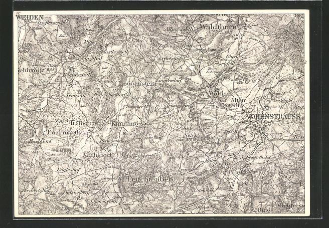 AK Weiden, Landkarte der Region südöstlich der Stadt