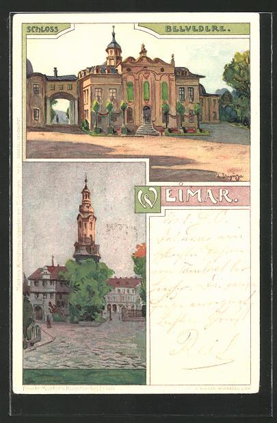 Künstler-AK Albert Stagura: Weimar, Schloss Belvedere