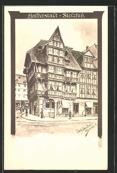 Künstler-AK Carl Jander: Halberstadt, Partie am Stelzfuss