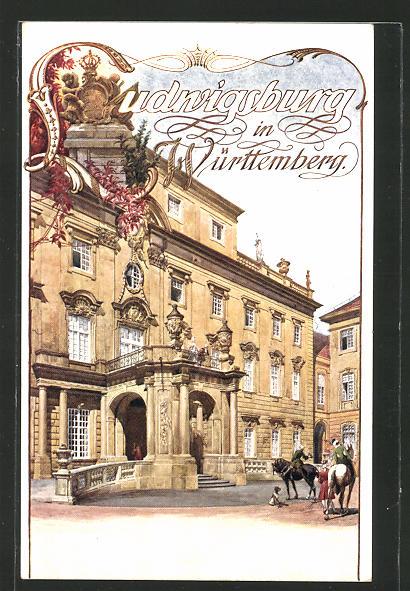AK Ludwigsburg, Schlossportal, Reklame für Tourismus