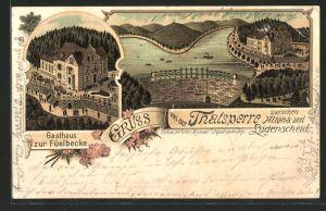 Lithographie Altena, Gasthaus zur Füelbecke, Thalsperre
