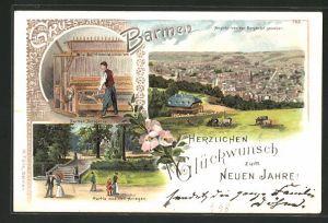 Lithographie Barmen, Barmer Industrie, Partie aus den Anlagen, Ansicht von der Bergbahn gesehen
