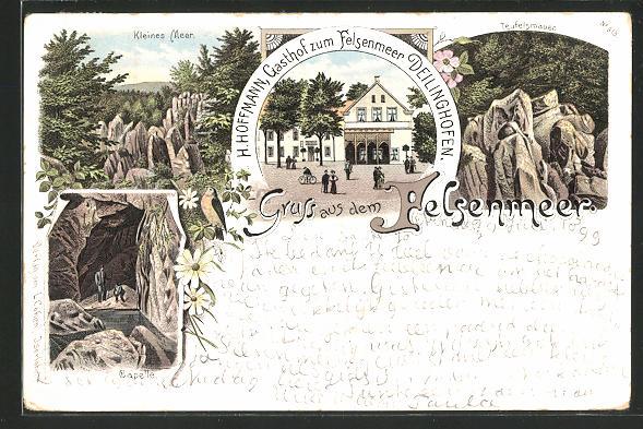 Lithographie Deilinghofen, Gasthof zum Felsenmeer, Kleines Meer, Teufelsmauer, Capelle