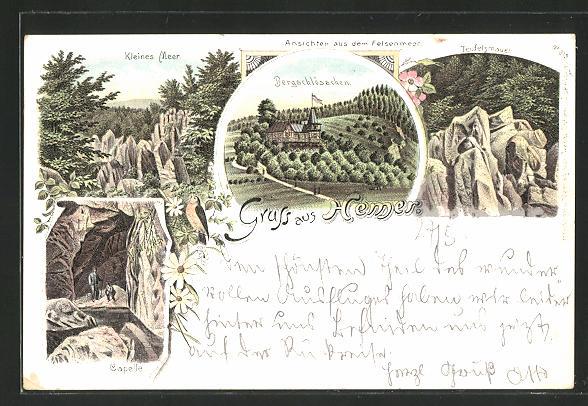 Lithographie Hemer, Felsenmeer, Bergschlösschen, kleines Meer, Teufelsmauer, Capelle