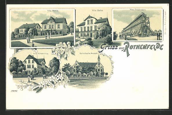 Lithographie Rothenfelde, Villa Heins, Villa Wilhelmina, Villa Balke & Altes Gradirwerk