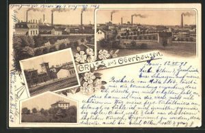 Lithographie Oberhausen, Ortspartien und Totalansichten mit Fabrikschloten