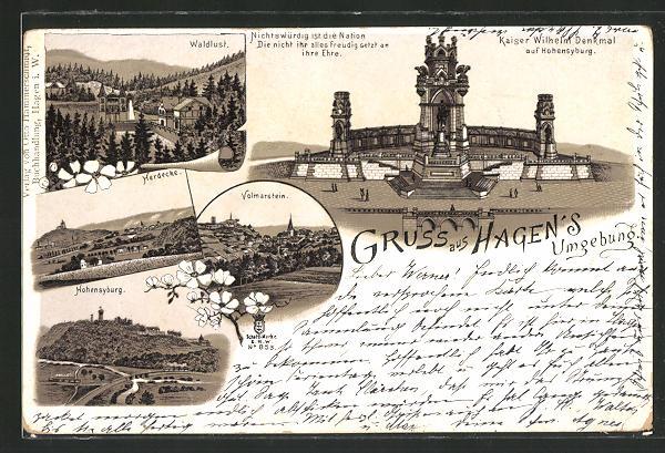Lithographie Hagen i. W., Kaiser Wilhelm Denkmal auf Hohensyburg, Blick auf Volmarstein, Herdecke u. Hohensyburg