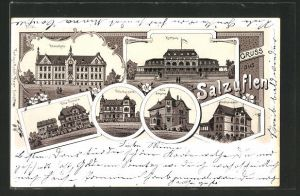 Lithographie Salzuflen, Realschule, Villa Victoria, Villa Kurpark, Villa Johanna, Sophienhaus, Kurhaus