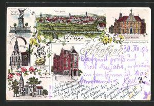 Lithographie Herford, Kriegerdenkmal, Münster Kirche, Radewiger Kirche, Kaiserl. Postamt, Totalansicht