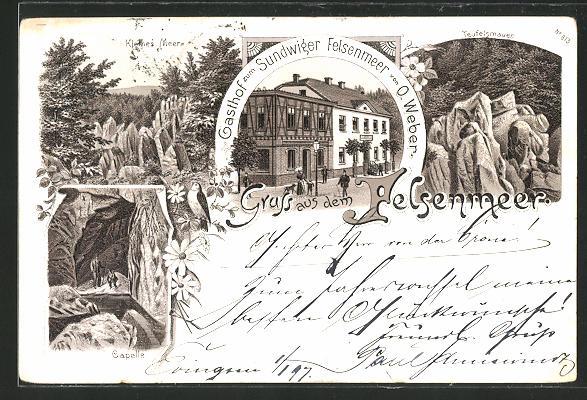 Lithographie Sundwig, Gasthof zum Sundwiger Felsenmeer, Teufelsmauer