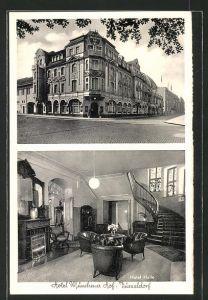 AK Düsseldorf, Hotel Münchener Hof, Auusenansicht und Hotel Halle, Jahnstrasse 1a