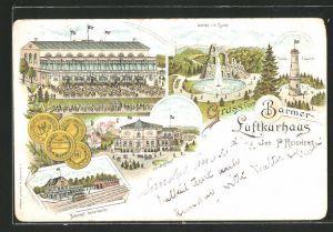 Lithographie Barmen, Gaststätte Barmer Luftkurhaus, Garten und Ruine, Toelle-Thurm und Bahnhof
