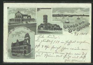Mondschein-Lithographie Duisburg, Blick auf Bahnhof, Post, Wasserturm und Rheinbrücke