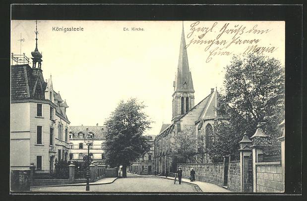 AK Königssteele, Strassenpartie an der evang. Kirche