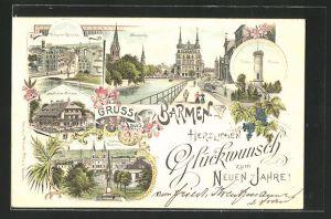 Lithographie Barmen, Unter-Barmen, Fischerthaler Meierei, Haspeler Brücke, Neuenweg, Tölle-Thurm