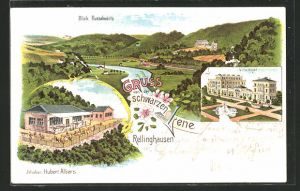 AK Rellinghausen a. d. R., Schwarze Lene, Inh. Hubert Albers, Villa Hügel, Blick flussabwärts