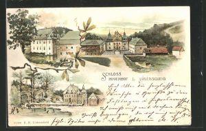 Lithographie Lüdenscheid, Partien am Schloss Neuenhof