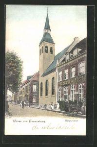 AK Cranenburg, Partie an der Hauptstrasse mit Kirche und Hotel zur Post