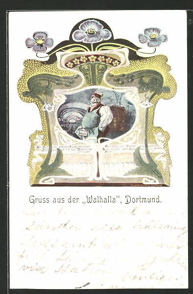 AK Dortmund, Gasthaus Walhalla, Schankwirt mit Bierkrug