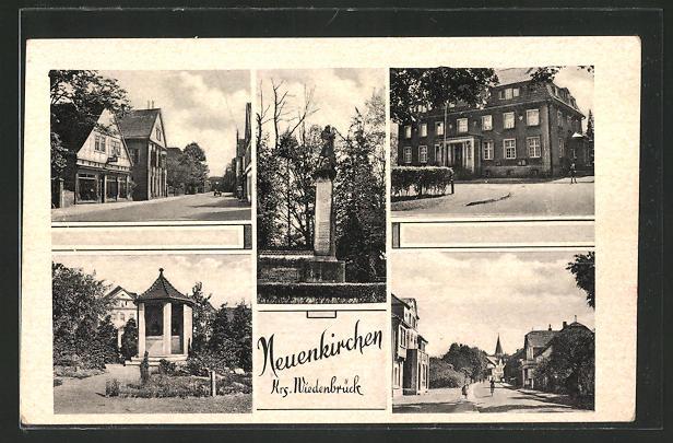 AK Neuenkirchen, Denkmal, Kapelle, Strassenpartien, Ortspartie