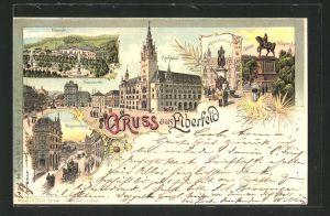 Lithographie Elberfeld, Neumarkt mit Rathaus, Döppersberg