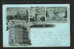 Mondschein-Lithographie Elberfeld, Hotel Adler, Schwebebahnhof Döppersberg, Kaiser Wilhelm Denkmal, Hauptbahnhof