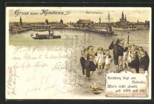 Lithographie Konstanz, vermenschlichter Frösche-Chor mit Totalansicht vom Ort