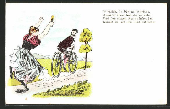 AK Frau rennt Ehemann auf einem Fahrrad hinterher, früher Druck, Scherz