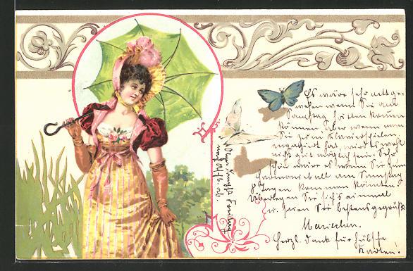 Künstler-AK Schöne Dame mit Schirm, Jugendstil