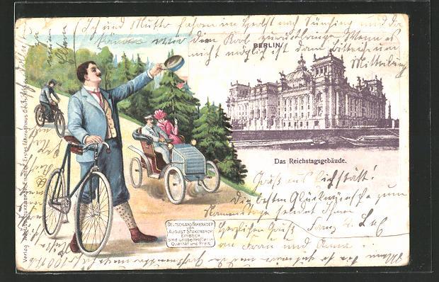 Passepartout-Lithographie Berlin, Reichstagsgebäude, Reklame für Fahrräder von A. Stukenbrok, grüssender Fahrradfahrer