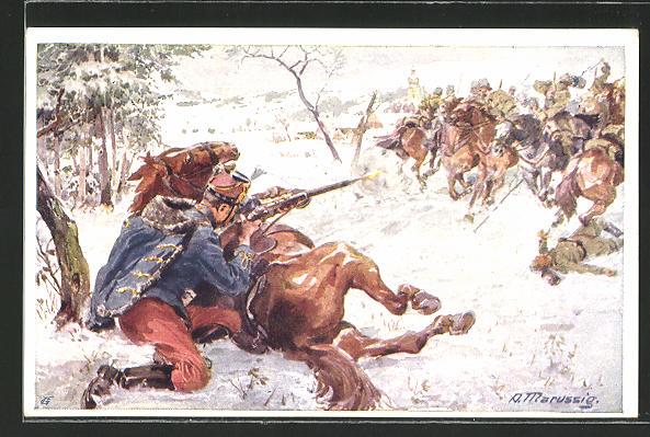 AK Rotes Kreuz Nr. 197: Husar Samuel Kralik wird von einer feindlichen Patrouille beschossen, Kriegsfürsorge