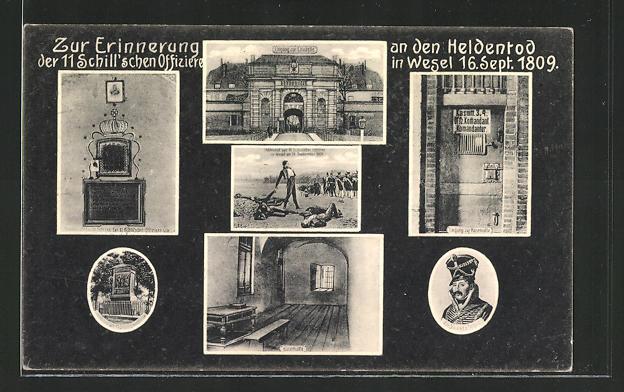 AK Wesel, Erinnerung an den Heldentod der 11 Schill'schen Offiziere 1809, Befreiungskriege