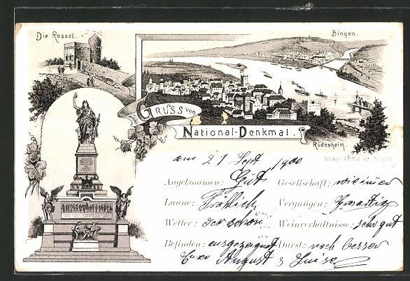 Lithographie National-Denkmal, Blick auf Rüdesheim und Bingen, Partie an der Rossel und Nationaldenkmal
