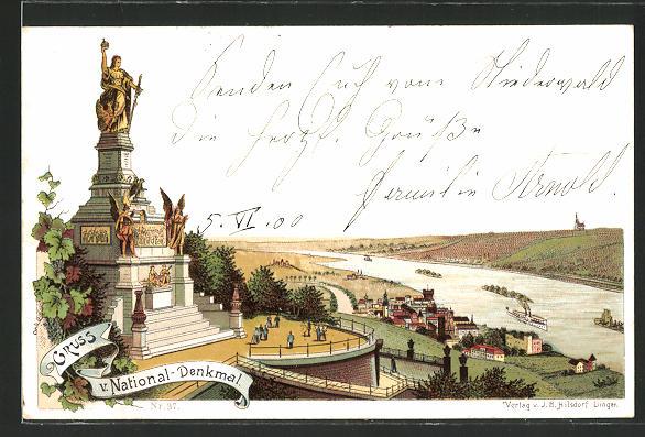 Lithographie National-Denkmal, Partie am Nationaldenkmal mit Blick ins Tal