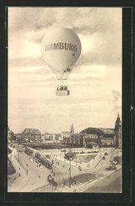 AK Hamburg, Ballon über dem Bahnhof