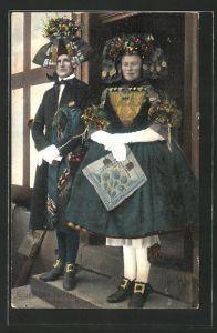 AK Schwälmer Brautpaar in hessischer Tracht