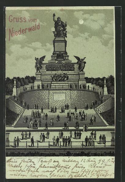 Mondschein-Lithographie Niederwalddenkmal, Gesamtansicht