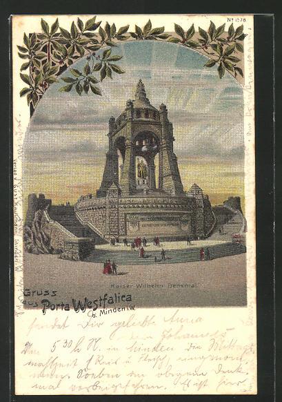 Lithographie Porta Westfalica, Kaiser Wilhelm-Denkmal