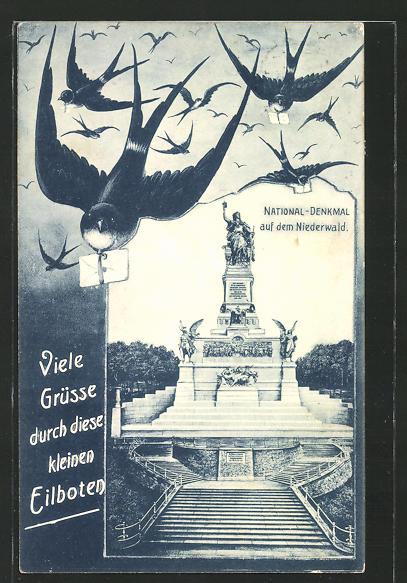 AK National-Denkmal auf dem Niederwald, Schwalben mit Briefen