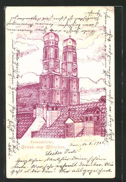 Künstler-AK München, Ansicht der Frauenkirche